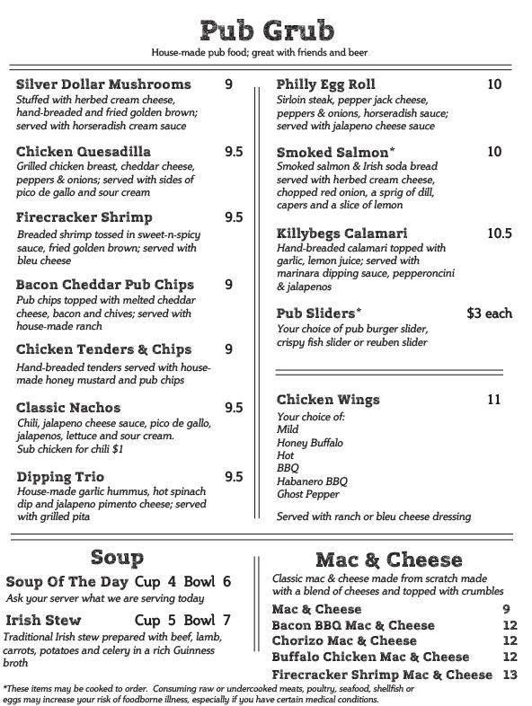 hibernian irish pub  u0026 restaurant menu  u2013 hibernian pub